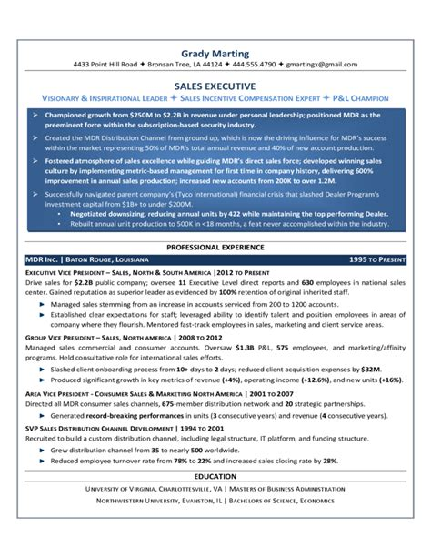 Sales Executive Resume by Sales Executive Resume Template Free
