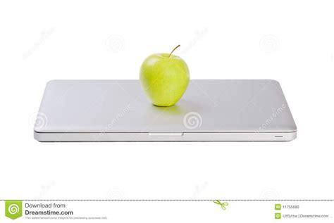 Laptop Apple Slim modern slim laptop with green apple stock photo image