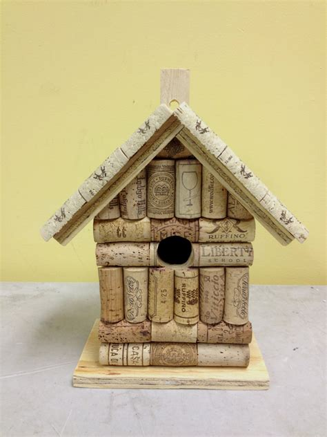 Handmade Bird House - wine cork and wood birdhouse bird house handmade from real