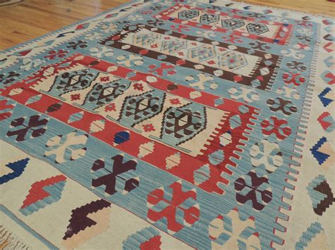 colorful kilim reversible wool area rug 6x9