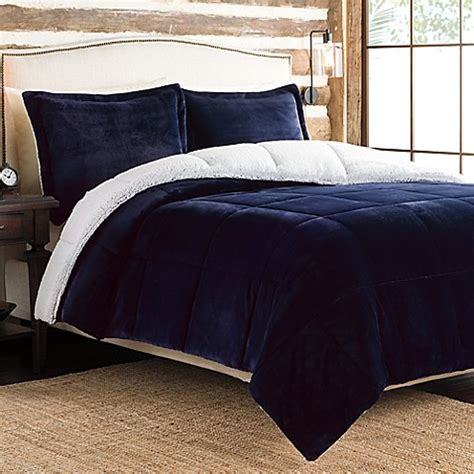 sherpa bedding ultra velvet to sherpa reversible king comforter set in navy bed bath beyond