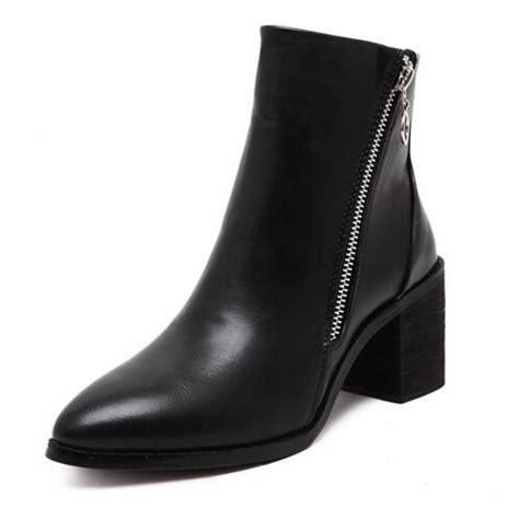 black pointed toe side zip ankle boots
