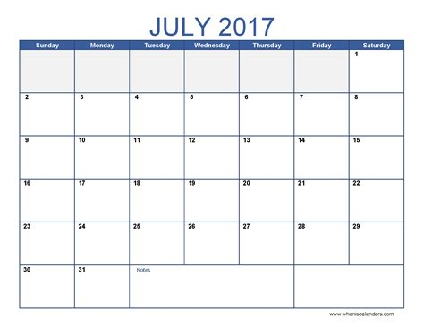july 2017 calendar template monthly calendar 2017