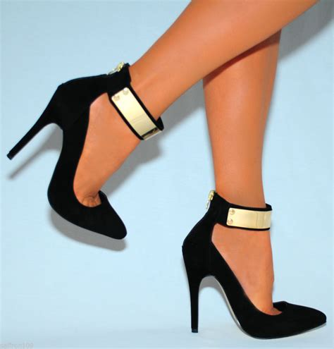 black gold shoes high heels black faux suede gold metal cuff pointed stiletto