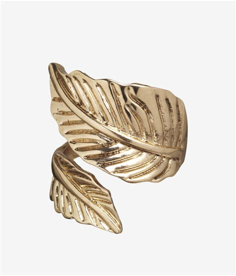 Leaf Wrap express metal leaf wrap ring in gold shiny gold lyst