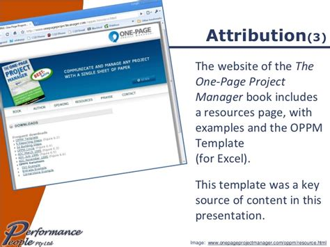using the one page project manager