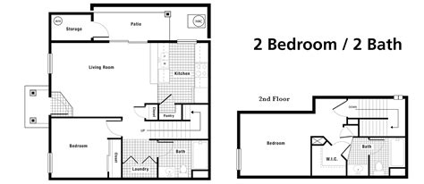 2 Bedroom 2 Bath Floor Plans Floorplans Creek Town Homes