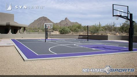 backyard basketball court tiles multi sport backyard court system synlawn photo gallery