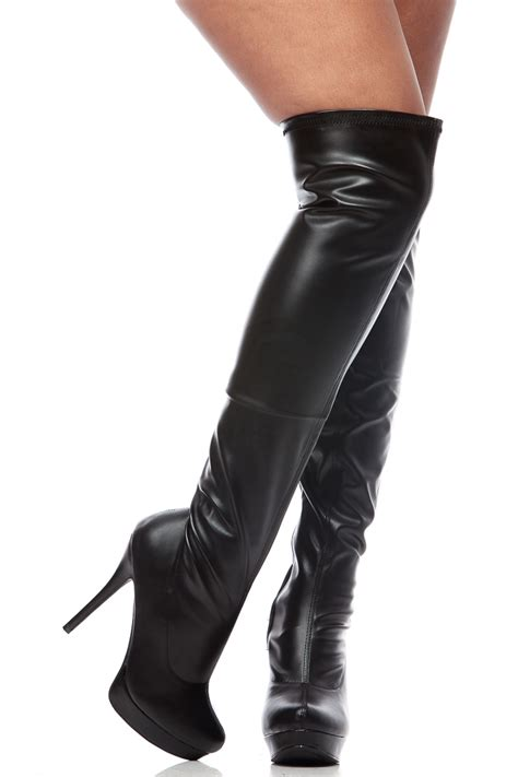 thigh high leather boots black faux leather thigh high platform stiletto boots