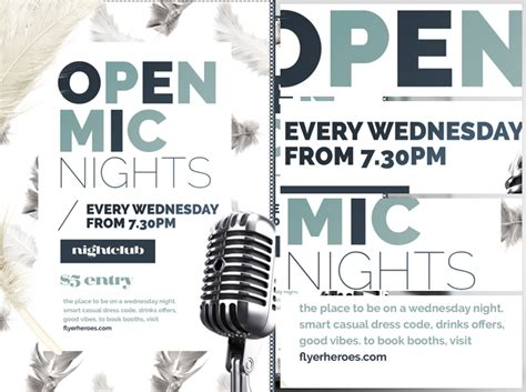 Feather Series Open Mic Night Flyer Template Flyerheroes Open Mic Poster Template