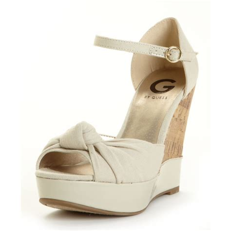 guess wedge shoes g by guess tinseli wedge sandals in white lyst