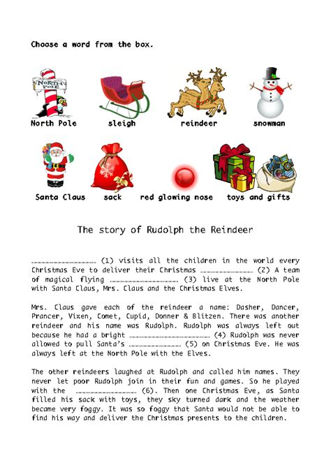 printable reindeer story the story of rudolph the red nose reindeer