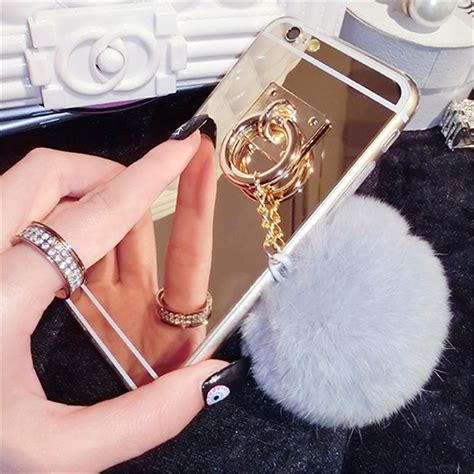Soft Iphone 6 6s Simple Luxury Shining Cover Tpu fashion mirror rabbit fur ᗗ tassel cover metal