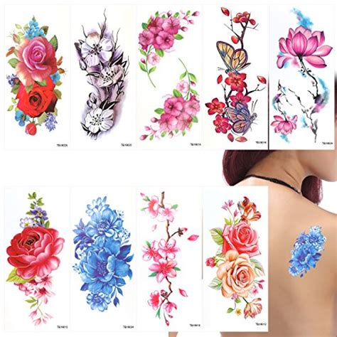 tattoo flower mural ultnice flower temporary tattoos stickers lotus cherry