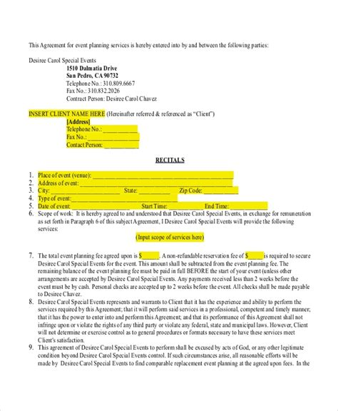 Event Planner Forms 8 Free Documents In Pdf Event Planner Contract Agreement Template