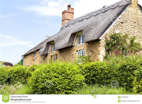 Old English Cottage House Plans Yellow Stone English Cottage With Thatched Roof Stock