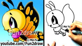 draw cartoons easy draw butterfly cute drawings fun2draw