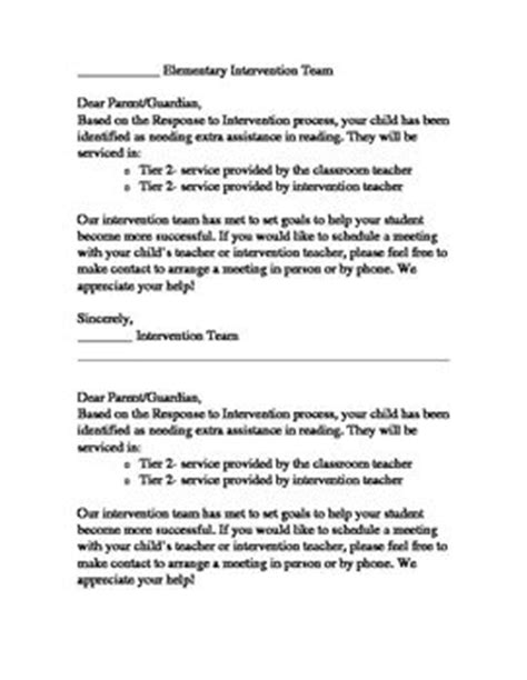 Parent Notification Letter For Rti Parent Letters Parents And Response To Intervention On