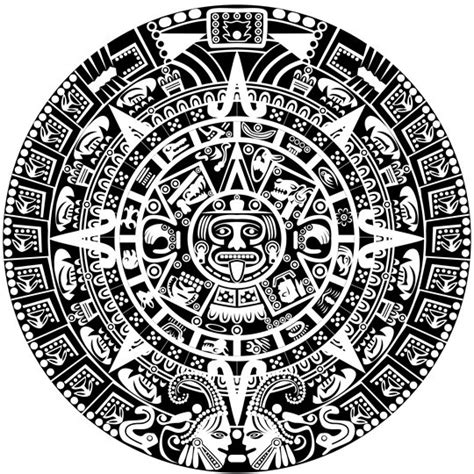 Calendario Azteca Vector Free Vector Black And White Ancient Patterns 01