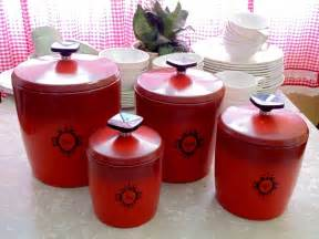 red kitchen canister set red kitchen canisters in vintage