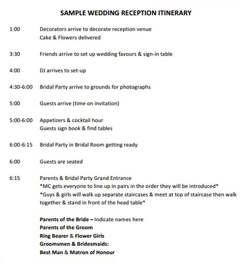 sample wedding timeline templates   word