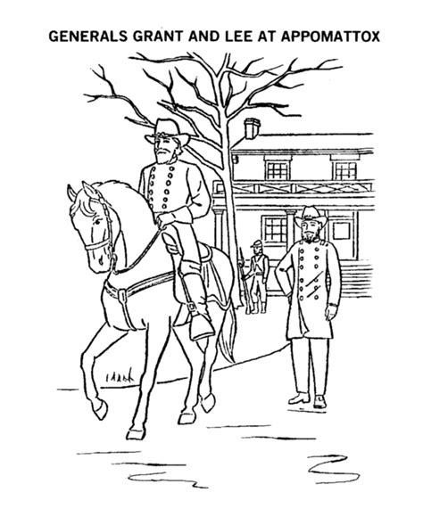 General Lee Surrenders Coloring Page Civil War The General Coloring Pages