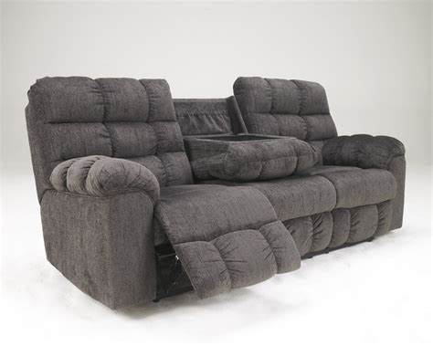 reclining sofa with drop down console acieona slate rec sofa w drop down table 5830089