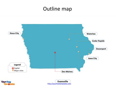 state of iowa map iowa map free free powerpoint templates