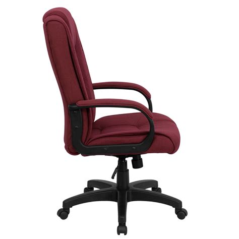 burgundy swivel office chair ergonomic home high back burgundy fabric executive swivel