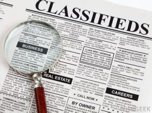 top categories for classified advertisement | newspaper