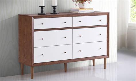 White And Walnut Bedroom Furniture Birkdale Midcentury Modern White And Walnut Dresser Groupon