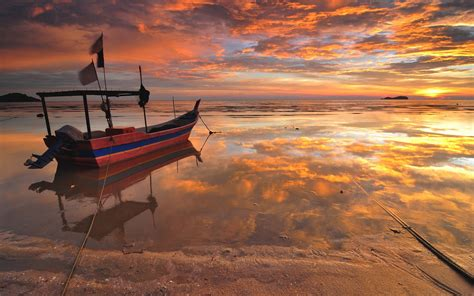 boat pulpit definition sea beach boat sunset water reflection wallpaper