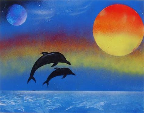 Sprei Sea Dolphine dolphin sunset spray paint