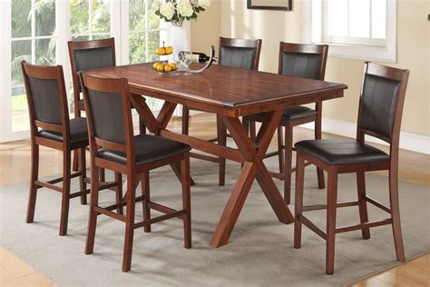 brown dining table set poundex f2263 f1387 brown wood dining table and chair set