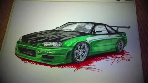 nissan skyline drawing step by the nissan skyline gt r34 sketch project reloaded youtube