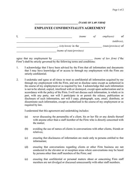 staff confidentiality agreement template best photos of employee confidentiality agreement template