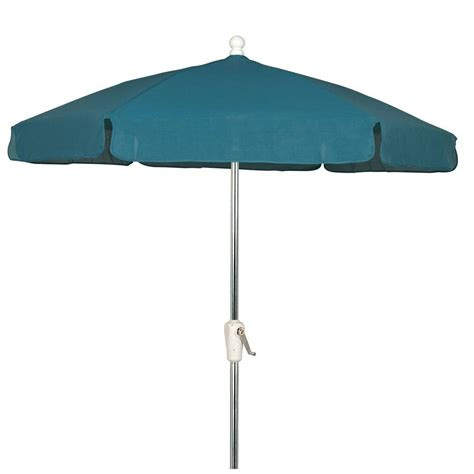 5 Ft Patio Umbrella Hton Bay 7 5 Ft Aluminum Patio Garden Umbrella In Chadlark Stripe 9714 01223700 The Home Depot