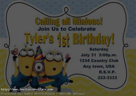 minion invitation card template despicable me printable birthday invitation free