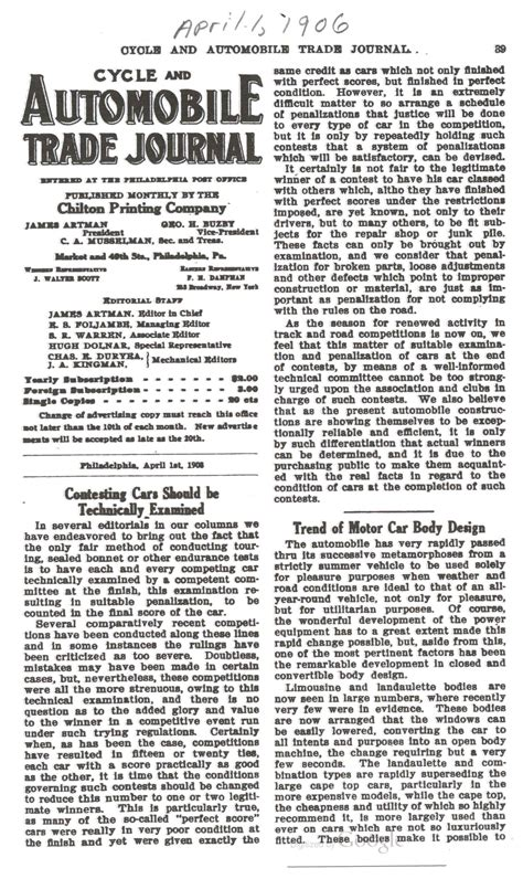 vehicle design journal articles 1906 4 1 contesting cars should be technically examined