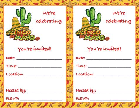 normal invitation card template free printable cinco de mayo invitations 2 different