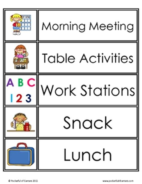 computer printable postcards daily schedule cards visual schedules schedule cards