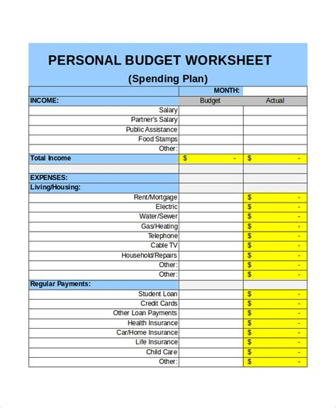 monthly personal budget template excel monthly budget template 18 free excel document