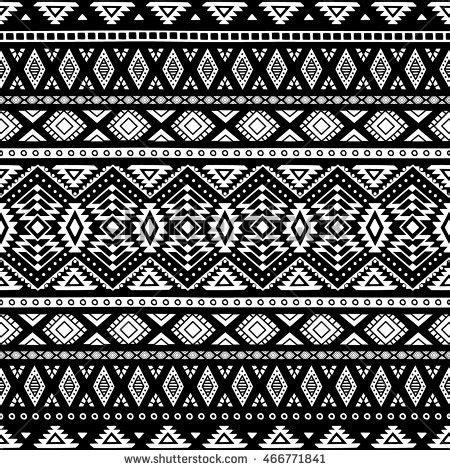 seamless ethnic pattern black white vector stock vector