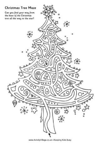 christmas tree maze free coloring pages for kids christmas mazes