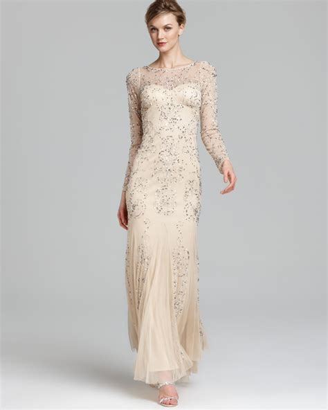 Dress Krem papell beaded gown sleeve in lyst