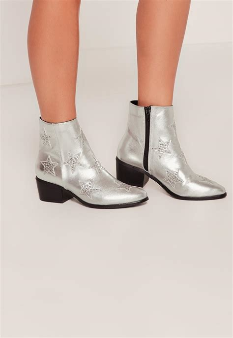 Shoe La La Silver Ankle Boots For by Missguided Silver Studded Ankle Boots In Metallic Lyst