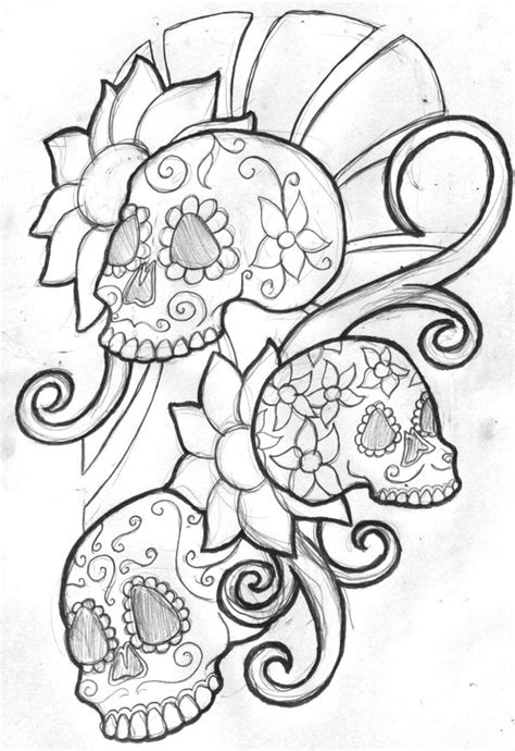 Printable Day Of The Dead Skulls Coloring Pages Images Princess Skull Tattoos Free Coloring Sheets