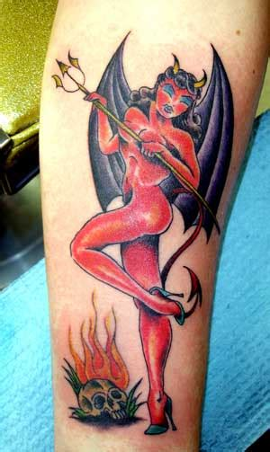 devil pin up by alex sherker tattoonow