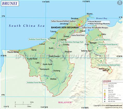 us map with states cities and highways brunei map