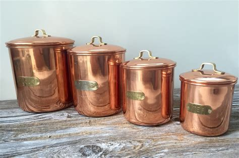 Copper Canister Set Kitchen Vintage Flour Sugar Coffee Tea Copper Colored Stainless